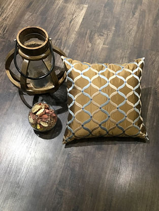 Brown And Golden Embroidered Faux Silk Cushion Cover (18in x 18in )