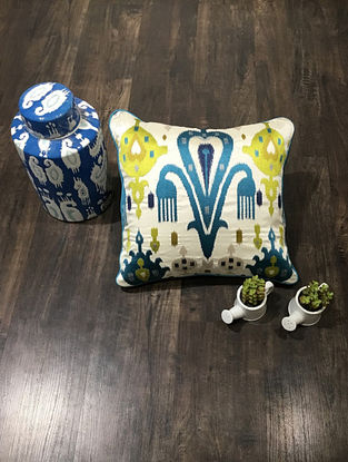 Ivory And Blue Embroidered Faux Silk Cushion Cover (16in x 16in )