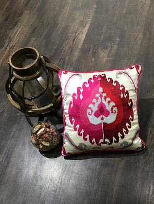 Ivory And Pink Embroidered Faux Silk Cushion Cover (18in x 18in )