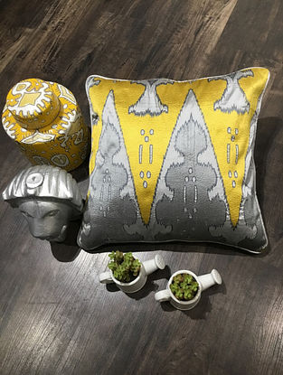 Grey And Yellow Embroidered Faux Silk Cushion Cover (16in x 16in )