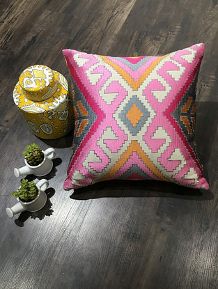 Off-white And Pink Embroidered Cotton Canvas Cushion Cover (18in x 18in )