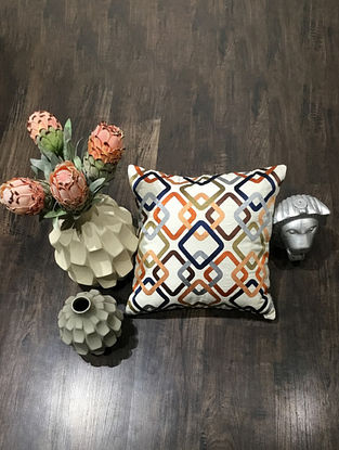 Off-white And Peach Embroidered Cotton Canvas Cushion Cover (18in x 18in )