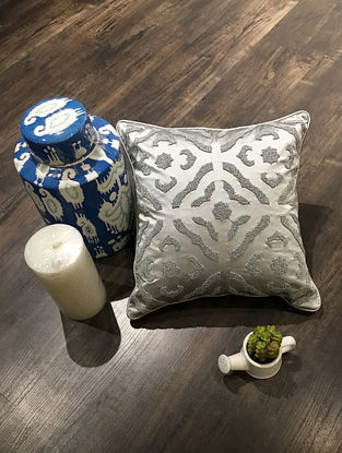 Grey Hand Beaded Faux Silk Cushion Cover (16in x 16in )