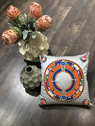 Grey And Orange Hand Beaded Faux Silk Cushion Cover (16in x 16in )