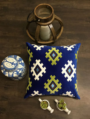 Royal Blue Machine Embroidered Velvet Cushion Cover (18 x 18)