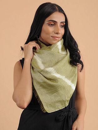 Green-Ivory Handwoven Tie-Dye Silk Linen Scarf