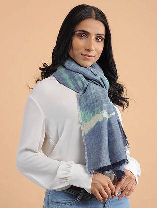 Blue-Ivory Handwoven Tie-Dye Silk Linen Scarf