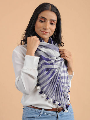 Blue-White Handwoven Silk Wool Scarf with Tassels