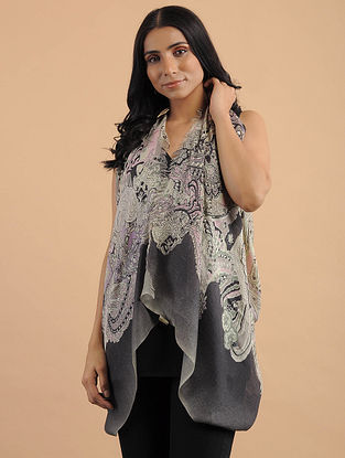 Ivory-Black Handwoven Silk Cashmere Scarf