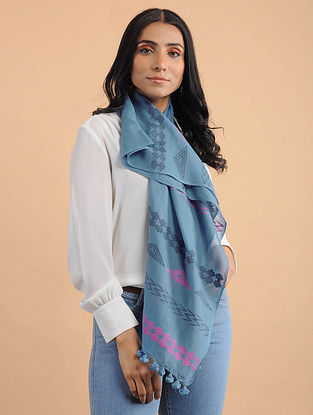 Blue Handwoven Cotton Scarf with Tassels