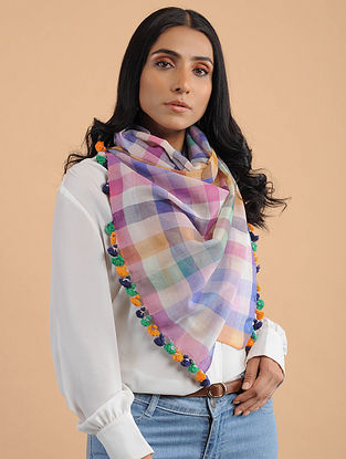 Multicolored Handwoven Cotton Scarf with Tassels