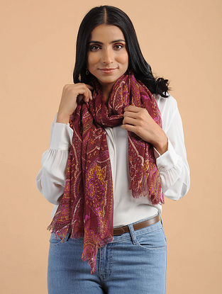 Red-Yellow Handwoven Cotton Scarf