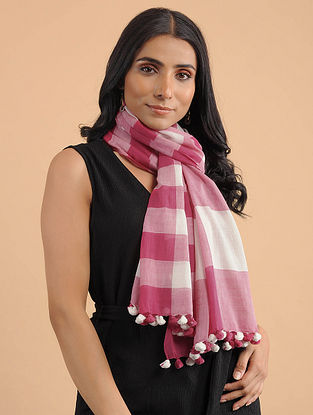 Pink-Ivory Handwoven Cotton Scarf