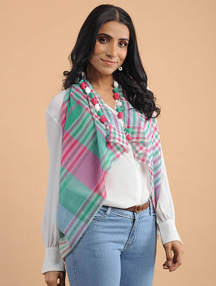 Green-Pink Handwoven Cotton Scarf with Tassels