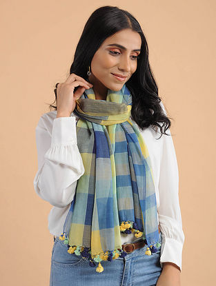 Blue-Yellow Handwoven Cotton Scarf with Tassels