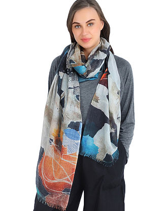 Multicolored Printed Silk Cashmere Stole