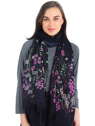 Black-Purple Printed Silk Cashmere Stole