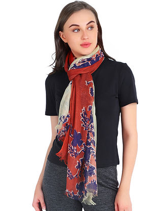 Red-Blue Printed Cashmere Stole