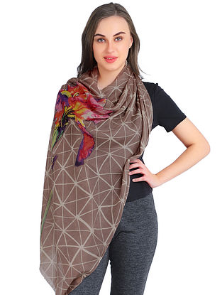 Brown Printed Silk Cashmere Crepe Stole