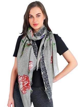 Grey-Black Printed Silk Cashmere Crepe Stole
