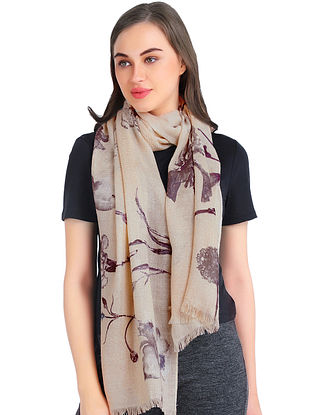 Beige Silk Printed Cashmere Crepe Stole