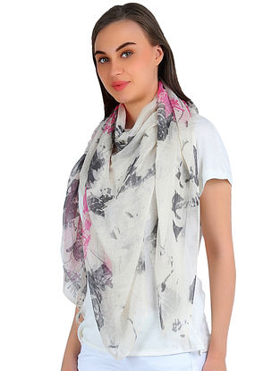 Black-Red Printed Silk Cashmere Stole