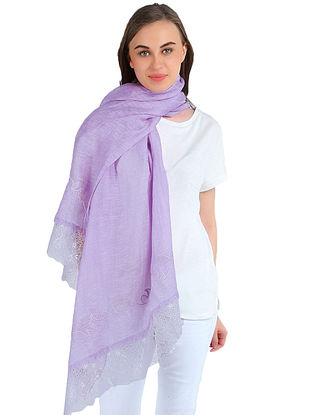 Lilac Printed Silk Linen Cashmere Scarf