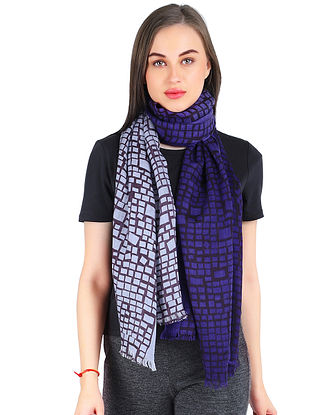 Blue Printed Silk Wool Stole