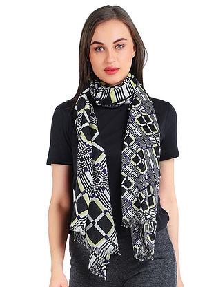 White-Black Printed Silk Wool Scarf