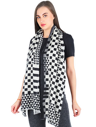 White-Black Printed Silk wool Cashmere Scarf
