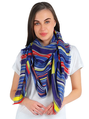 Blue Printed Silk wool Cashmere Stole