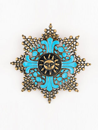 Blue Gold Tone Enameled Brooch