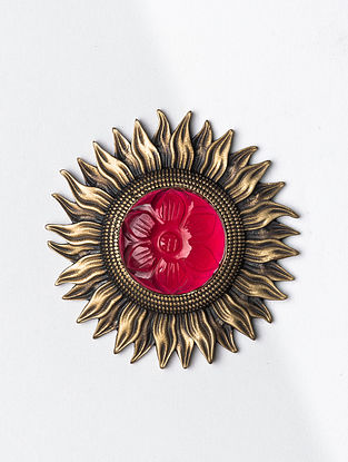 Red Gold Tone Handcrafted Brooch