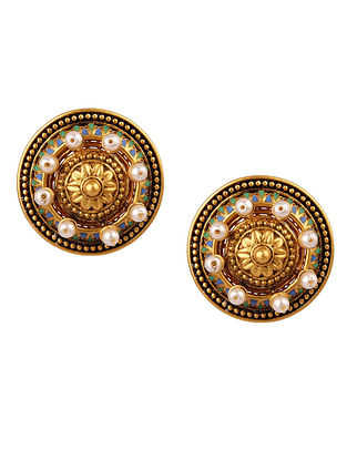 AMRAPALI- Baroque Pearl Studs Made with Swarovski Crystals & pearls