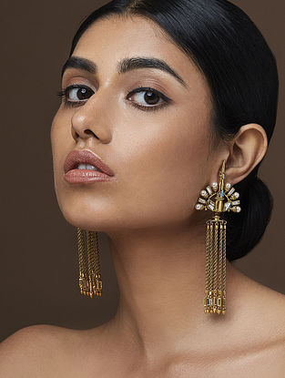 AMRAPALI-Baroque Peacock Earrings Made with Swarovski Crystals & pearls