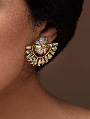AMRAPALI- Baroque Ear Studs Made with Swarovski Crystals