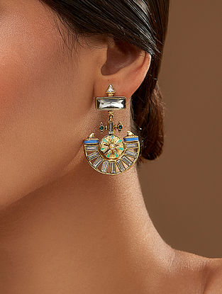AMRAPALI-Baroque Ornate Earrings Made with Swarovski Crystals