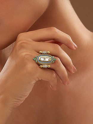 AMRAPALI- Baroque Mirror Ring Made with Swarovski Crystals