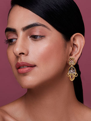NIDA MAHMOOD-India Electric Patina Studs Made with Swarovski Crystals