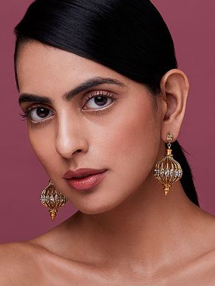 NIDA MAHMOOD-India Electric Jaali Earrings Made with Swarovski Crystals