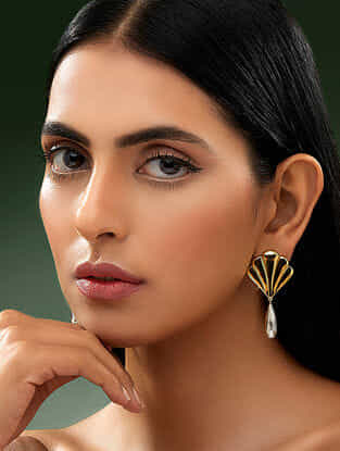SHIVAN & NARRESH-Edomer Flaring Fall Earrings Made with Swarovski Crystals