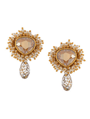 Ashima Leena Heera Noori Mumtaz Earrings With Swarovski Crystals & Pearls