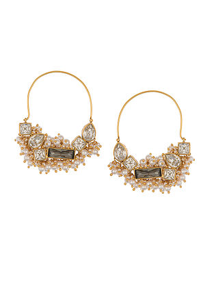 Ashima Leena Heera Noori Hoop Earrings With Swarovski Crystals & Pearls