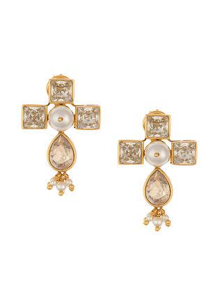 Ashima Leena Heera Noori Diva Earrings With Swarovski Crystals & Pearls