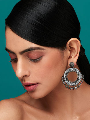 Deepa Gurnani Ria Grey Earrings Made with Swarovski Crystals and Pearls