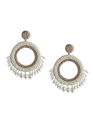 Deepa Gurnani Ria Cream Earrings Made with Swarovski Crystals and Pearls