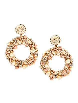 Deepa Gurnani Ashi Cream Earrings Made with Swarovski Crystals and Pearls