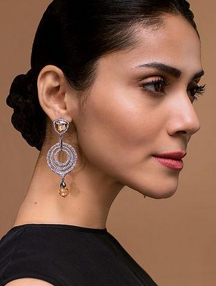 Tarun Tahiliani- Luminescent Victorian Chaand Earrings Made with Swarovski Crystals