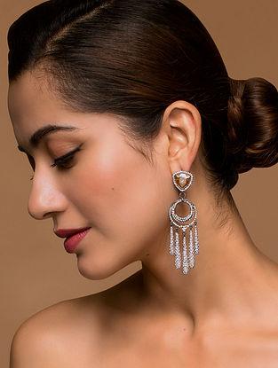 Tarun Tahiliani- Luminescent Layered Chaand Fringe Earrings Made with Swarovski Crystals