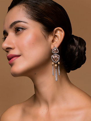 Tarun Tahiliani- Luminescent Pave Drop Earrings Made with Swarovski Crystals & pearls